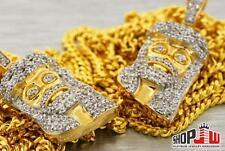 """Mens 14k Gold Finish .925 Silver Double Set Jesus Piece Pendant Chain 20"""" 24"""""""