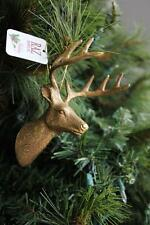 "Deer Head Ornament Antler Reindeer Ornament Raz Imports Christmas New 5"" Gold"