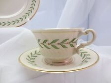 Lot  2 Syracuse Greenwood Laurel Wreath Old Ivory Cups & Saucers USA Red Berry