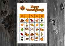 Thanksgiving Holiday Party Game Bingo Cards on Card Stock 10/20/30ct
