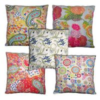 Indian Home Decor Cotton Floral Kantha Handmade Cushion Covers 16 / 20 inch
