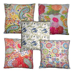 Tropical Indian Handmade Cotton Floral ,Paisley Kantha Cushion Covers 16'' /18''