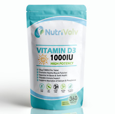 Vitamin D3 1000IU 360 Tablets High Strength Immune Health Bone Support Sun 25µg