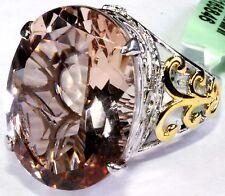 Blush Quartz, White Topaz Ring 16.81 Cts Size 7 Sterl Silver 14K YG and Platinum