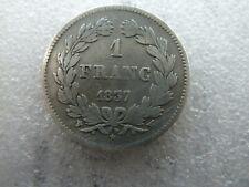 rare 1 franc en argent Louis Philippe 1837 W   Réf  : ROR 01