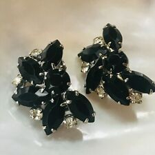 Vintage Black & Clear Rhinestone Half Flower Spray Silvertone Clip Earrings –