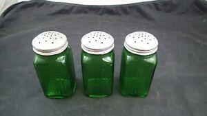 3 Owens Illinois Ovoid Shaker Green Glass Flour Sugar Salt Pepper VTG Canister