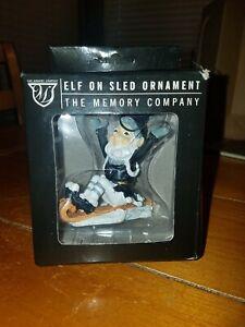 Oakland Raiders Elf On A Sled Ornament Christmas By The Memory Company NIP