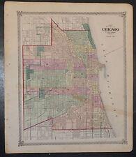 1875 Large Original Map of Chicago Illinois Parks Railroads Great Detail
