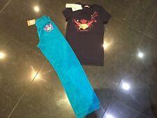 NWT Juicy Couture New & Gen Girls Age 8 Blue Velour Pants & Blue Cotton T-Shirt