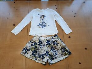 Mayoral Designer Girls White T-Shirt, Floral Shorts Outfit Size 7 - 8 - 9 Years