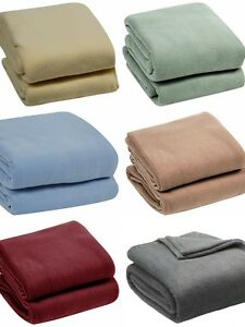 4 SIZES 10 COLORS Super Soft Plush Blanket Solid Throw- Twin, Full, Queen & King