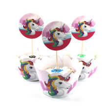 12+12 pcs Unicorn style Cup Cake Decorating Toppers Wrapper Birthday Baby Shower