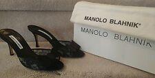 Manolo Blahnik Black Lace Silde Open Toe Heels, NIB Size 38.5