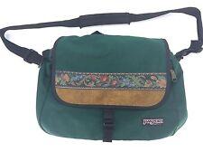 Vtg '90s USA Jansport Messenger Shoulder Bag Green Nylon Suede Flower Stripe 94