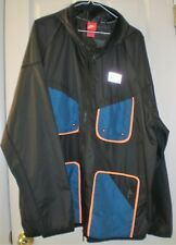 NIKE MENS WINDBREAKER JACKET WITH HOOD, BLACK, BLUE, SIZE XXL NEW WITH TAG