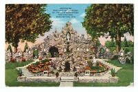 1940s Grotto Our Lady of Lourdes St Francis Monastery Burlington WI Postcard