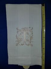Monogram Linen Tea Towel  Letter T 22 inches long 11 inches folded 1