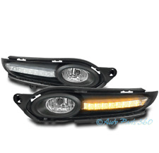 FOR 16-17 HONDA HR-V VEZEL BUMPER DRIVING CHROME FOG LIGHTS LAMP W/DRL LED BEZEL