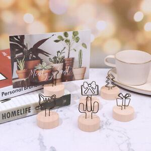 4CM Round Wooden Iron Photo Clip Memo Name Card DIY Family Photo Decorat laBDUS