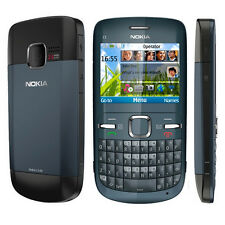 Original Nokia C3-00 Blue Unlocked Bluetooth QWERTY Keypad Bar Mobile Cell Phone