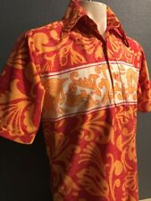 Vtg 70's GO BAREFOOT men's Hawaiian Shirt Size M Pullover Groovy Must See