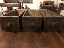 Vtg Carved Front Wood Drawers Early Americana 6x17 3 Lot