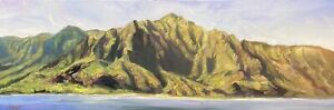 "Abbott Oil Painting Stretched Canvas 12""x36"" Panorama Of Na'Pali Coast Kauai USA"