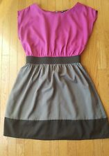 BeBop Sleeveless Dress Size Large Pink Black Grey Colorblock with Lining
