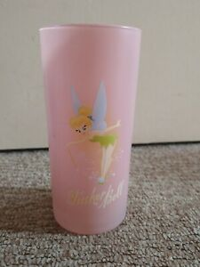 DISNEY STORE , TINKERBELL, pink frosted drinking glass