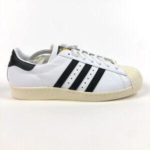 Adidas Originals Superstar 80s Mens 12 White Black Chalk Shoes Sneakers 913165