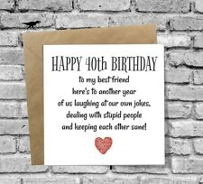 DINOSAURCARDS GREETINGS CARD HAPPY 40th BIRTHDAY FUNNY HUMOUR COMEDY BEST FRIEND