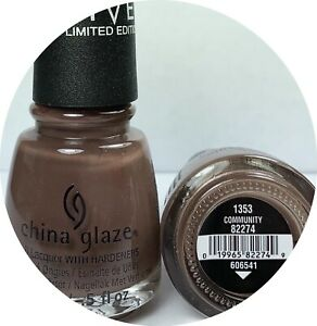 China Glaze Nail Polish COMMUNITY 1353 Muted Chocolate Creme Lacquer