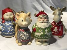 Lenox CHRISTMAS SWEATER ORNAMENTS Lighted Snowman Santa Fox Moose Porcelain NEW