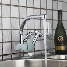 Spring Kitchen Basin Faucet Single Handle Dual Sprayer Deck Mount Sink Mixer Tap