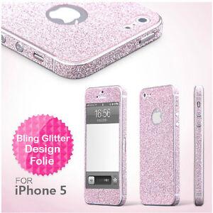 2 x Glitzerfolie iPhone SE 5 5S Skins Strass Fullboby Aufkleber Sticker Folie