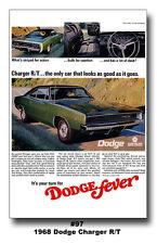 13x19 1968 DODGE CHARGER R/T MOPAR ART AD POSTER 383 440 426 HEMI FEVER BROCHURE