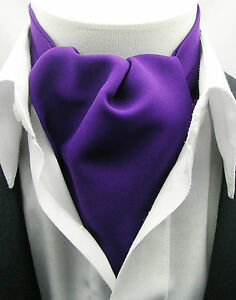 New Modern Day Silk Ascot Cravat Tie Royal Purple Matte Extra Long