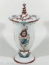 Karlsruher Majolika Jugendstil Deckelvase ° Pokal ° Design Willy Münch-Khe 1914