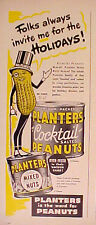1949 PLANTERS PEANUTS Cocktail Salted Mixed Nuts Mr Peanut Vacuum Cans Trade AD