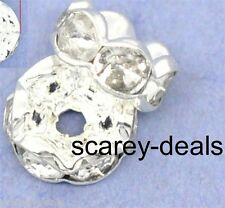 20 X 8mm Crystal Clear Rondelle Rhinestone Spacer Beads 1st Class Post