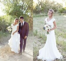 Wedding Dress Vintage Lace V Neck Mermaid Western Country Cap Sleeve Bridal Gown