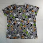 Cassandra O Women's Large Halloween Scrub Top Webs Ghosts BOO Candy Pumpkin