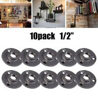 10PCS 1/2 Flange Malleable Threaded Iron Pipe Fittings Floor Wall Mount Black
