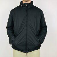 Vintage Polo Ralph Lauren Jacket Men's Large Black Fleece Lined Hooded Full Zip
