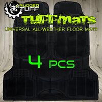 RUGGED TUFF FLOOR MATS NEW 4 PC UNIVERSAL BLACK ALL WEATHER TRIM CUT HEAVY DUTY