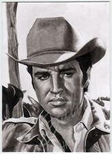 ACEO Original painting drawing card Elvis Presley in Flaming Star