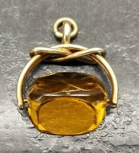 Antique Rolled Gold & Citrine Coloured Stone Albert Watch Chain Spinning Fob.