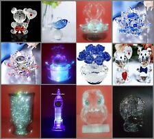 More details for amazing crystal souvenirs dolphin lotus owl big ben buddha led clock london gift