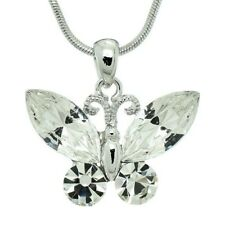 "Butterfly Pendant Made With Swarovski Crystal Clear Necklace 20"" Chain Jewelry"